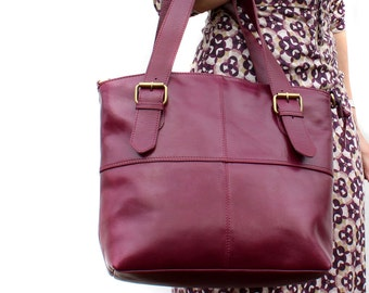 Purple Leather Handbag Tote