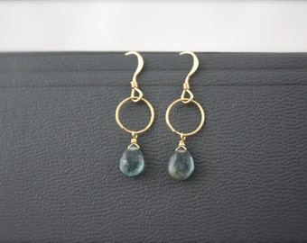 Moss Aquamarine Short Infinity Earrings- Choice of Gold Filled or Sterling Silver