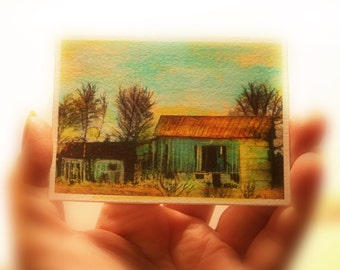 Autumn sun setting, Barn aceo original, miniature art, 2.50x3.50, old barn, autumn country, countryside, nature