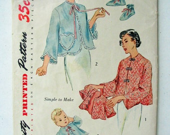 """Vintage Simplicity 3386 1950s Misses' and Infant's Bed Jacket and Bootie Slippers MISSING Misses' Slippers  Size Medium Bust 34""""-36"""""""
