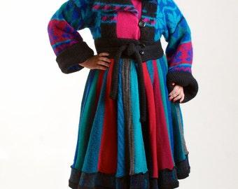 Upcycled Sweater Coat, Jewel Toned, Recycled Sweater Coat, Size Large 12 to 14,