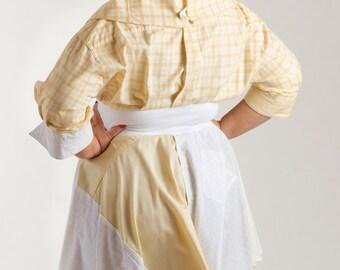 Size Large Blouse from Upcycled Men's Shirts/ Yellow Peplum Top 12-14 /brendaabdullah