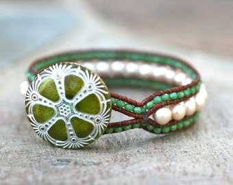 White Freshwater Pearl and Olive Green Crystal Leather Wrap, Cuff Handmade Bracelet