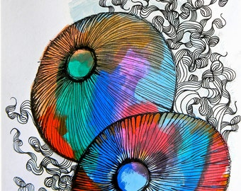 Jellyfish - Original Ink and Acrylic Painting - Hand painted colorful underwater sea jellyfish urchins art
