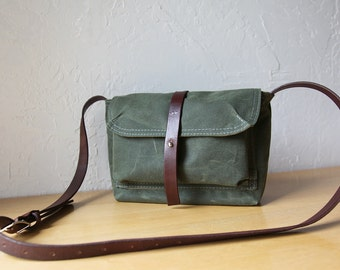 Waxed Canvas and Leather Satchel in Evergreen // Weather Resistant