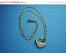 ON SALE SWAROVSKI Vintage Gold and Clear Pave Crystal Swan Pendant Necklace, Beautiful! #A177