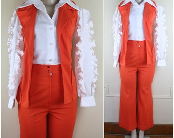 70s ruffles - vintage 3 pc FUNKADELIC pantsuit - orange & white - wide leg pants, pirate blouse, vest - size small