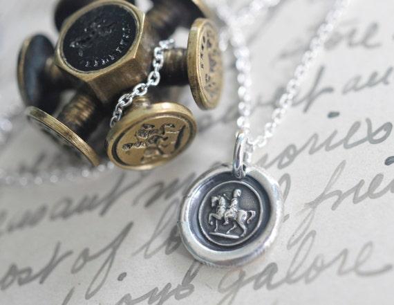 horse wax seal necklace - victorian woman on horseback - fine silver Victorian trinket wax seal jewelry - equestrian jewelry