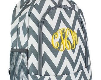 Girls Personalized Backpack Gray Chevron School Monogrammed