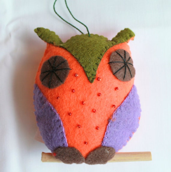 Felt Plush Owl Perched on a branch Hanging Ornament