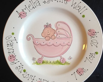 Hand Painted Baby Plate - Sweet Baby Girl in Baby Carriage