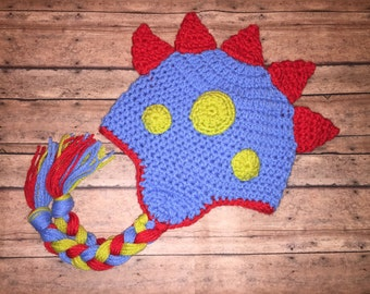 Dinosaur Dragon Hat - All Sizes Available - Bright Blue Orange Apple Green  - All Sizes - Newborn to Adult