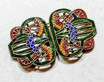 Edwardian Art Nouveau Buckle, Champlevé Enamel Floral Belt Clasp,Dark Green With Dark Red  & Cobalt Blue Flowers Guilloche Details