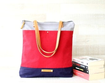 Canvas Tote Bag, Zip Closure, EXPRESS SHIPPING, Grey Navy Red, Genuine Leather Straps, Handbag, Summer, Laptop Tote, Nautical Tote Bag