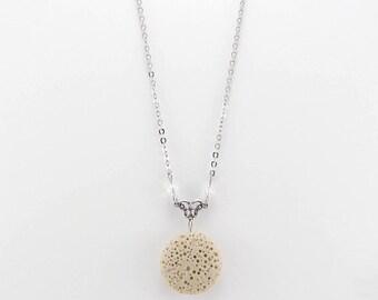 Aromatherapy Necklace, Tan Lava Jewelry, Essential Oil Necklace, Lava Bead Jewelry, Lava Diffuser Necklace, Swarovski Crystals
