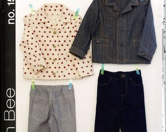 Green Bee No. 15 Dylan Jacket & Jeans for Boys and Girls Size 12 mo to Size 6 Uncut Sewing Pattern