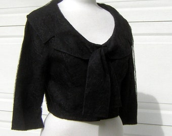 Black Lace Jacket Top Cropped Elegant Party Wear - Bust 40""