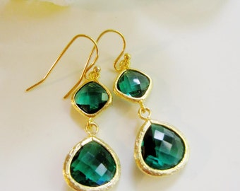 Green Teardrop Earrings, Emerald, Dangle Drops, Bridesmaid Earrings, Wedding Jewelry, Gold Earrings, Gift for Her