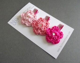 Pink Hair Clips Crochet Flower Hair Clips Argyle Hair Clips Light Pink Hair Clips Hot Pink Hair Clips Pink Flowers Baby Hair Clips Baby Girl