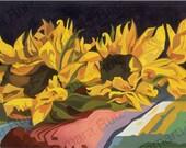 Contemporary Western Art, Sunflowers, by Tamara Ruiz - Giclee on Canvas