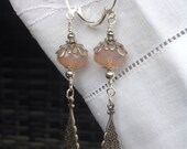 oO ROSANNE Oo silver/pink czech glass earrings