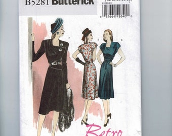 REPRODUCTION Sewing Pattern Butterick B5281 5281 Misses 1940s 1946 40s Style Retro Dress Multisize Size 6-12 or 14-22 UNCUT
