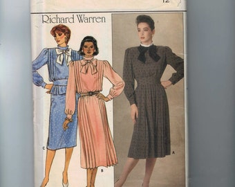 1980s Vintage Sewing Pattern Butterick 6922 Misses Modest Richard Warren Necked Dress Size 12 Bust 34 80s 1985