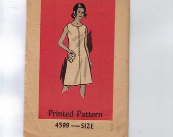 1970s Vintage Sewing Pattern Mail Order 4599 Misses A Line Dress with Heart Pocket Size 14 Bust 36 1970s 70s  99