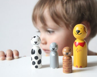 Cats and Dogs Peg Dolls // Wooden Toys Boys Gift // Fair Trade // Peg Dolls Modern Doll House - Wooden Toys