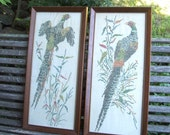 Vintage Pair of Large Cross Stitch Pheasants Framed