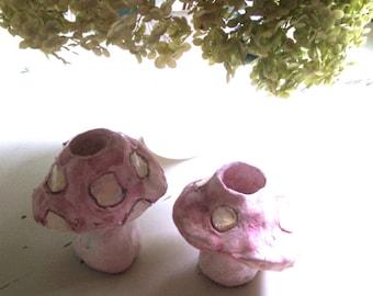 handmade vintage pottery toadstool mushroom candle holders