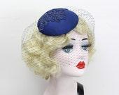 Navy Blue Birdcage Veil, Cocktail Hat, Silk Fascinator, Lace, Bridal Hat, Wedding Veil, Mother of the Bride, Blusher Veil, Batcakes Couture