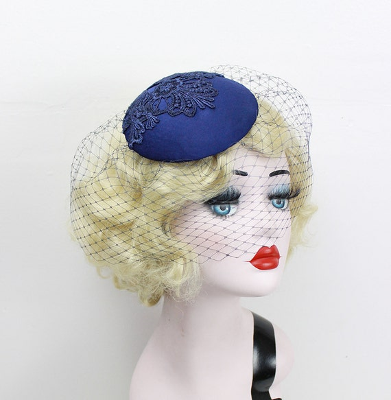 Navy Blue Birdcage Veil, Cocktail Hat, Silk Fascinator, Lace, Bridal Hat, Wedding Veil, Mother of the Bride, Blusher Veil, Batcakes Couture