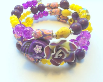 Purple and Yellow Day of the Dead Sugar Skull and Rose Memory Wire Bracelet