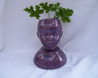 Purple Ceramic Doll Head  Planter Polka Dots
