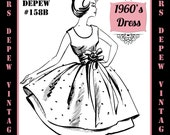 Vintage Sewing Pattern 1960's Evening or Cocktail Dress in Any Size - PLUS Size Included - Depew 158B -INSTANT DOWNLOAD-