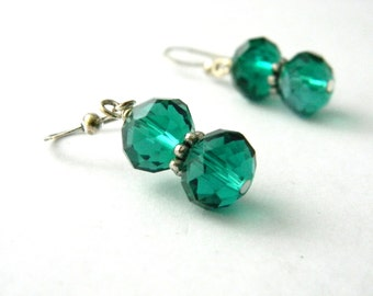 Teal Green Glass Earrings Dangle Earrings