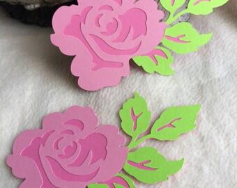 Rose Die Cuts...2 Piece Set of Very Beautiful and Elegant Layered Rose Scrapbooking Die Cut Embellishments