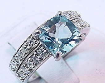 AAA Fine Blue Aquamarine Cushion Cut 1.82 carats 8x8mm 14K white gold Diamond bridal set(.60ct) 0361