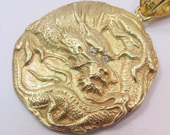 14K gold DRAGON Pendant Hand carved w/ Diamond Eyes or Ruby, Emerald, Sapphire, Garnet, Citrine, Zircon, or Amethyst eys. 11.5 grams