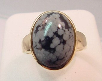 16x12mm Snowflake obsidian set in 14K yellow gold ring, also available in White gold 0229 n