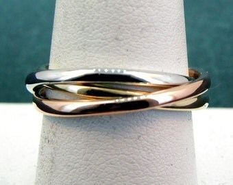 14K Tri color gold rolling Wedding rings Rose, Yellow and  White gold 2mm wide comfort fit.