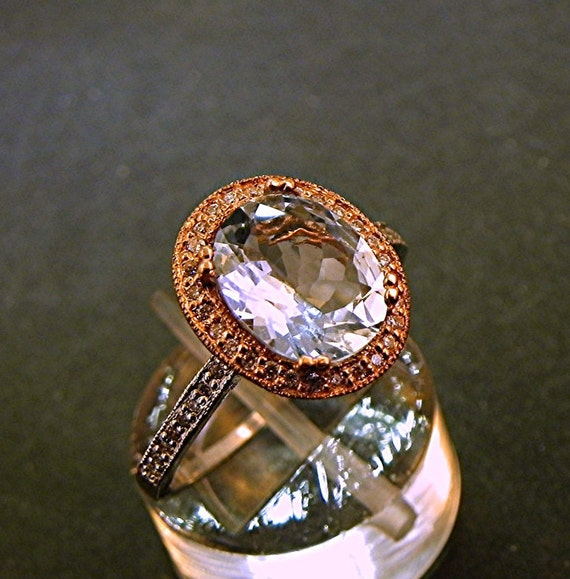 AAA Natural Blue Aquamarine   10x8mm  2.05 Carats   in a 14k White/Rose gold ring with diamonds (.30ct) Ring 1374
