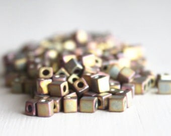 20g Metallic Khaki Iris 4mm Miyuki Japanese Cube Beads