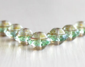 25 Aqua GreenPicasso 8x10mm Czech Glass Saturn Beads