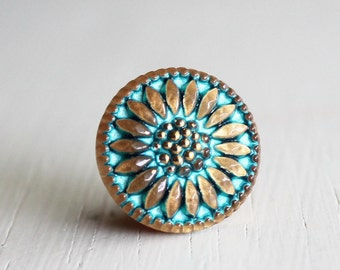 Bright Turquoise Gold Daisy 18mm Czech Glass Button