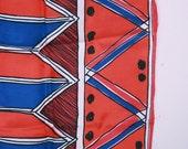 Vintage Vera Neumann scarf red white and blue geometric