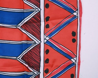 Vintage Vera Neumann scarf red white and blue geometric