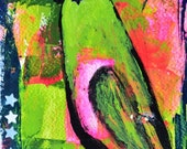Acrylic Lime Green Bird Painting. Colorful Funky Art. Home Wall Decor
