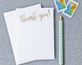 Thank You Note Cards (Font 3) - Gold or Silver Foil Hot Foil Stamped on White Card Stock, Wedding Thank You Cards